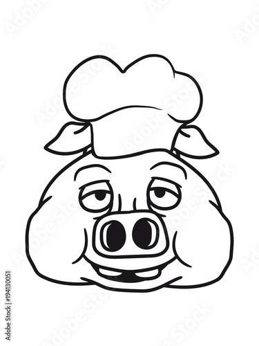 Kopf Gesicht Koch Kochen Grillen Bbq Chef Kuche Schurze Lecker Essen