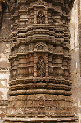 Carving details on the outer wall of Jhulta Minara, Ahmedabad, Gujarat
