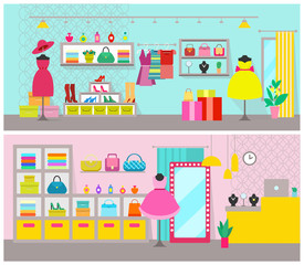 Clothing Store Posters Set Vector Illustration