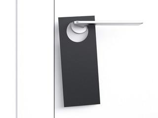 Black door hanger tag. 3d rendering