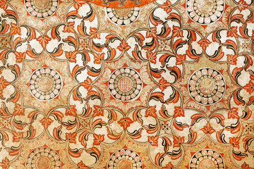 Beautiful antique fresco with floral patterns and geometric. Sri Lanka traditional artwork background