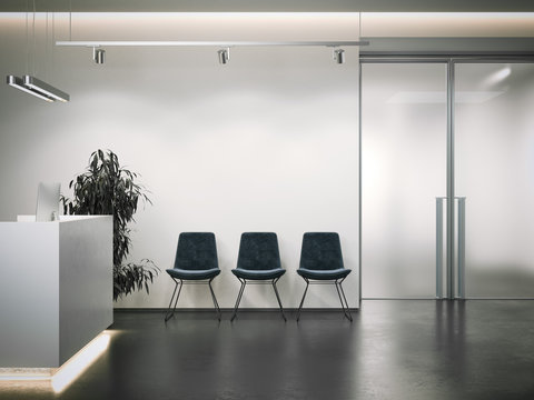 Bright office reception with waiting area. 3d rendering