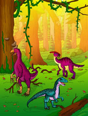 Dinosaurs on the background of forest