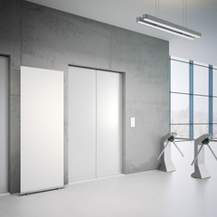 Elevators and white rollup banner. 3d rendering