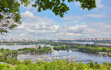 Aerial panorama of the Dnieper with the Petrovsky Railway Bridge in Kiev