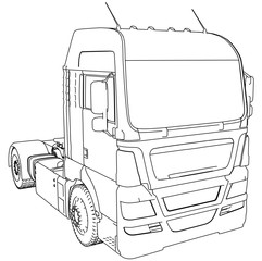 Modern Cargo Truck isolated on grey background. Eurotrucks delivering vehicle layout for corporate brand identity design. Tracing illustration of 3d. EPS 10 vector format