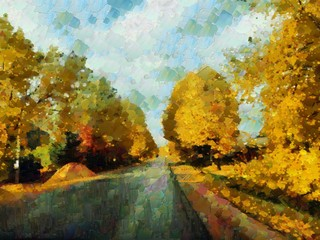 An illustration in palette knife style depicting an autumn road, after a rain, with a gloomy autumn sky