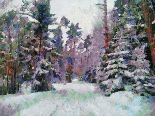 Illustration in the style of the palette knife, the winter forest. The winter trail that goes deep into the majestic pine and fir trees, shrouded in snow and frost