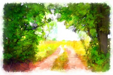 The road in the summer. Bright sun through forest in summer, the village road leading into the distance.  Bright sun floods the earth