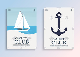 Yacht club. Sailboat in the open sea. Template for covers, card or poster. Vector illustration.