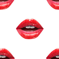 Seamless pattern of red sexy lips. Vector lipstick or lip gloss 3d realistic design. Fashion illustration