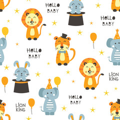Seamless pattern with circus animals