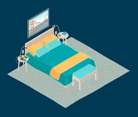 Isometric illustration of bedroom. Cartoon hand drawn line style of interior