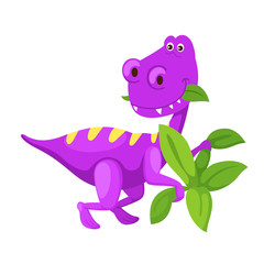 illustration cartoon cute dinosaur isolated on white background