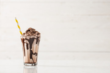 Foto op Textielframe Milkshake Chocolate Milk and Whipped Cream on White Background