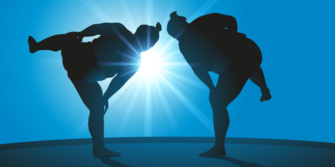 sumo - japon - sport - combat - force - japonais - gros - énorme - symbole - combattant - concept - sportif