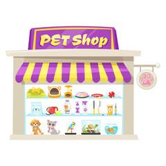 illustration of pet shop facade