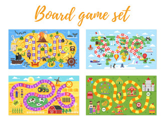 set of kids boardgame;