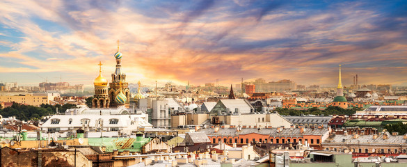 Wall Mural - Aerial view of St Petersburg, Russia