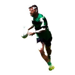 Polygonal rugby player running with ball, geometric vector silhouette
