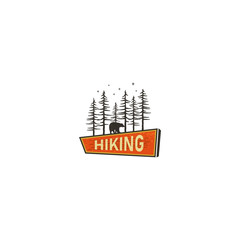 Vintage Hand drawn camping sign, travel badge - Hiking sign. Old retro style. Camping sign concept wih bear in the forest. Stock vector illustration isolated on white bckground