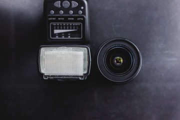 with a lens on a black background