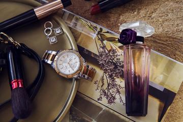 Set of Women's accessories - Sunglasses, watches, perfume bottle, sunglasses, mascara, phone