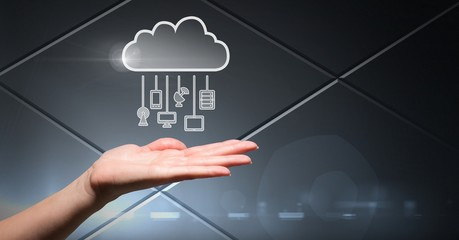 Hand with cloud icon and hanging connection devices and grey