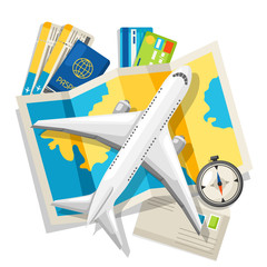 Travel concept illustration. Traveling background with tourist items. Top view