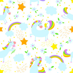 Magic unicorns background. Seamless pattern with mystical horse with corn and stars and rainbow