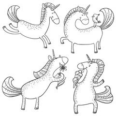 Magic unicorns set. Mystical doodle horse with corn isolated on white. Cute line art character