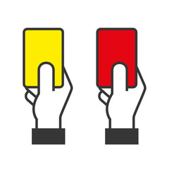 Judge Hands Holding Red and Yellow Cards. Vector