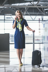 Flight attendant in airport
