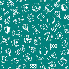 Gambling, Table and Computer Game Thin Line Seamless Pattern Background. Vector
