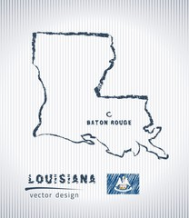 Louisiana national vector drawing map on white background