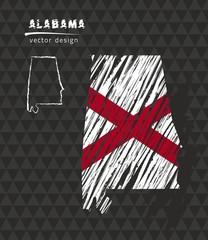 Alabama national vector map with sketch chalk flag. Sketch chalk hand drawn illustration