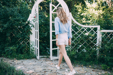 girl in a plaid gate