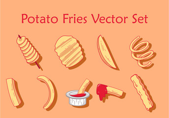 Potato fries vector set