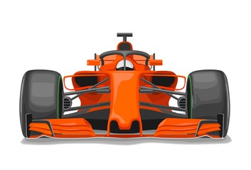 Racing car with protection front view. Vector flat color illustration