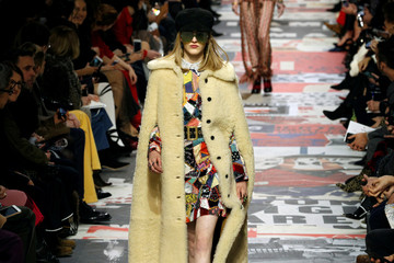 A model presents a creation by designer Maria Grazia Chiuri as part of her Autumn/Winter 2018-2019 women's ready-to-wear collection show for fashion house Dior
