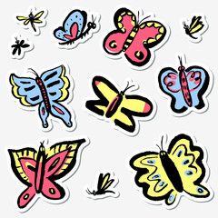 Stickers set with cute butterflies. Collection with funny insects in doodle sketchy style.