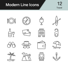 Travel icons. Modern line design set 12. Vector illustration.