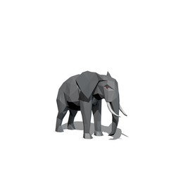 Polygonal elephant. Isolated on white background. 3D rendering illustration.