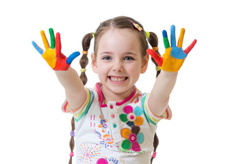 Portrait of child girl with painted hands isolated