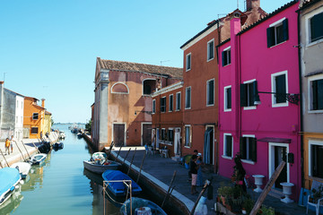 VENICE, ITALY. Colorful houses on Burano island, Venice Italy.