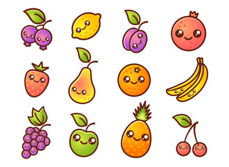 Fruit and berries in manga style.