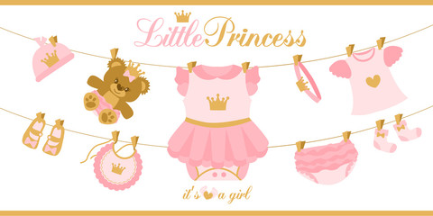 Little princess clothes hanging on line. Illustration for baby shower invitation card. Royal birthday first party. Cute vector things isolated on white background. Pink and gold crown. Teddy bear girl