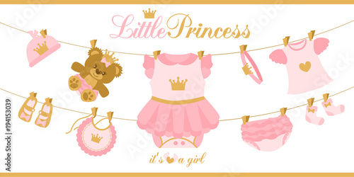 little princess clothes hanging on line illustration for baby