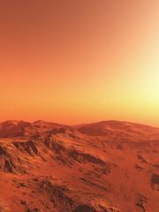Science fiction illustration of an imaginary Martian landscape