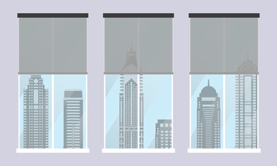 Windows with modern city view. Interior with skyscrapers in the windows. Flat design. Vector illustration.